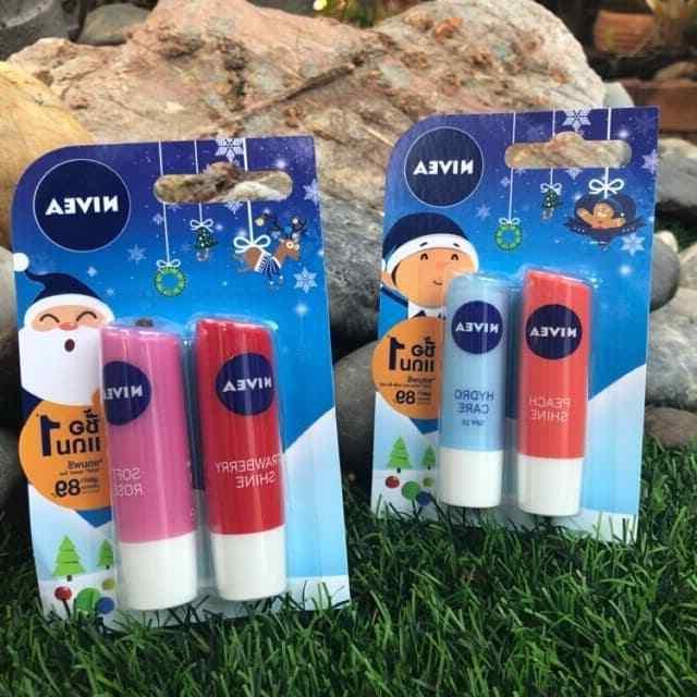 Nivea Lip Balm Strawberry Shine Soft Rose Hyrdo SPF Care Val