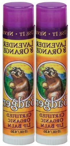 Badger Lip Balm Stick-Lavender & Orange, 2 pack