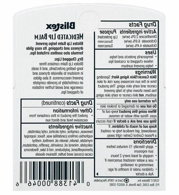 Blistex Medicated Balm SPF Sunscreen Dry Men
