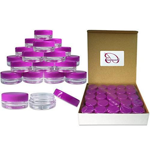 50 Pack 3 Gram/ML Purple Lid Plastic Makeup Cosmetic Cream S