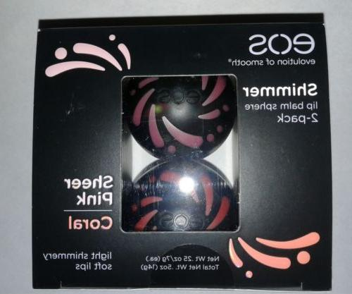 NEW IN PACKAGE EOS SHIMMER LIP BALM SPHERE 2-PACK COLOR SHEE