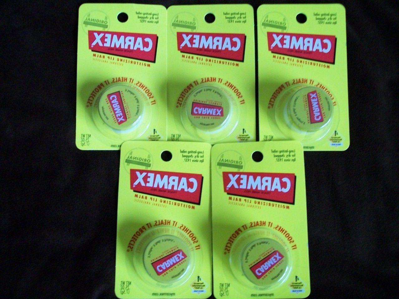 NEW LOT 5 Carmex Original Lip Balm Jars tubes great for cold