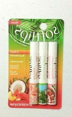 New X3 Softlips Watermelon, Tropical Coconut, Peach Passion