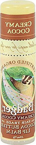 Badger Organic Cocoa Butter Lip Balm Creamy Cocoa -- 0.25 oz