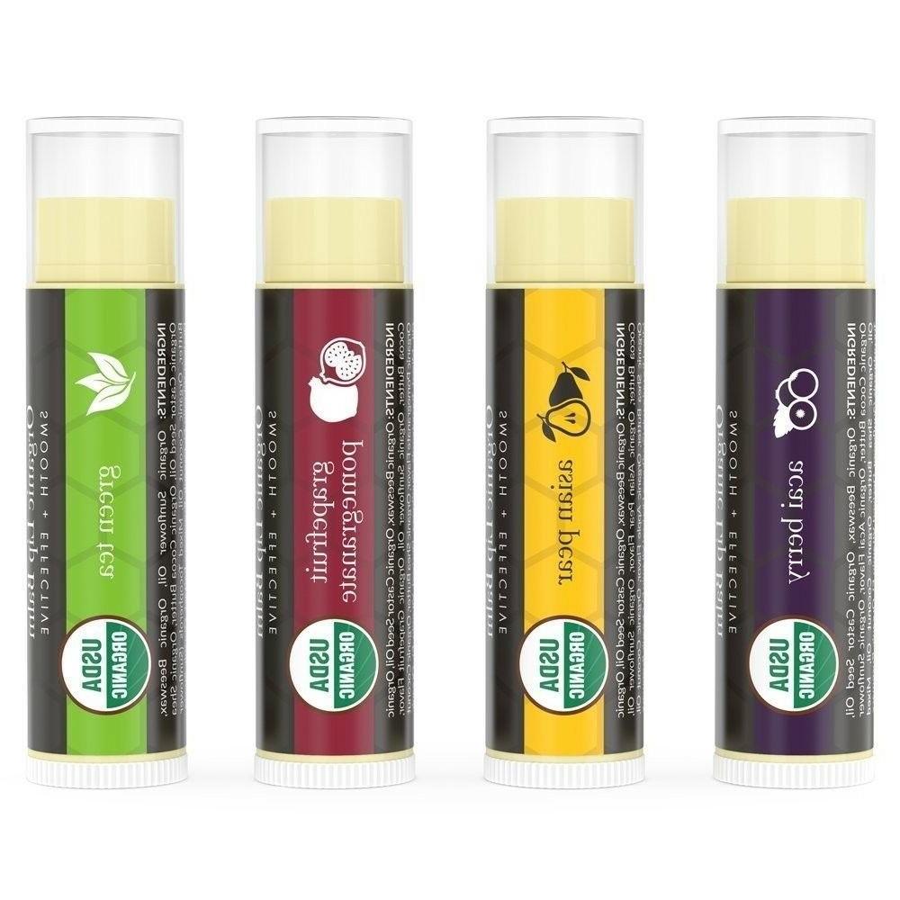 Beauty Earth Organic Lip Balm Pack Fruit Flavored Moisturizing