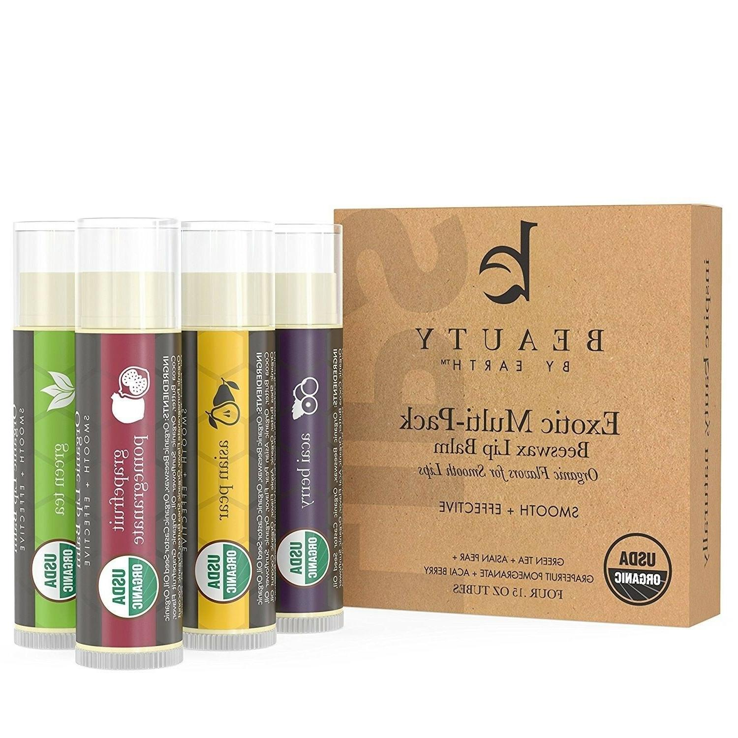 Beauty by Earth Lip Balm Pack Fruit Flavored