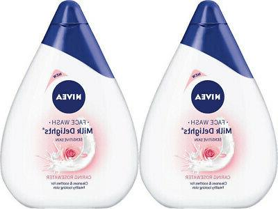 Pack of 2 Nivea Milk Delights Rosewater Sensitive Skin Face