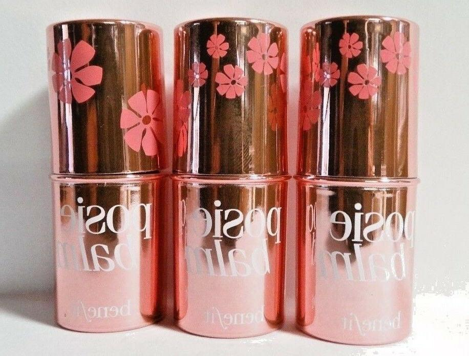 Benefit-Posie-Balm-Hydrating-Tinted-Lip-Balm-Lot-of-3-Travel-Size-0.05 NWOB