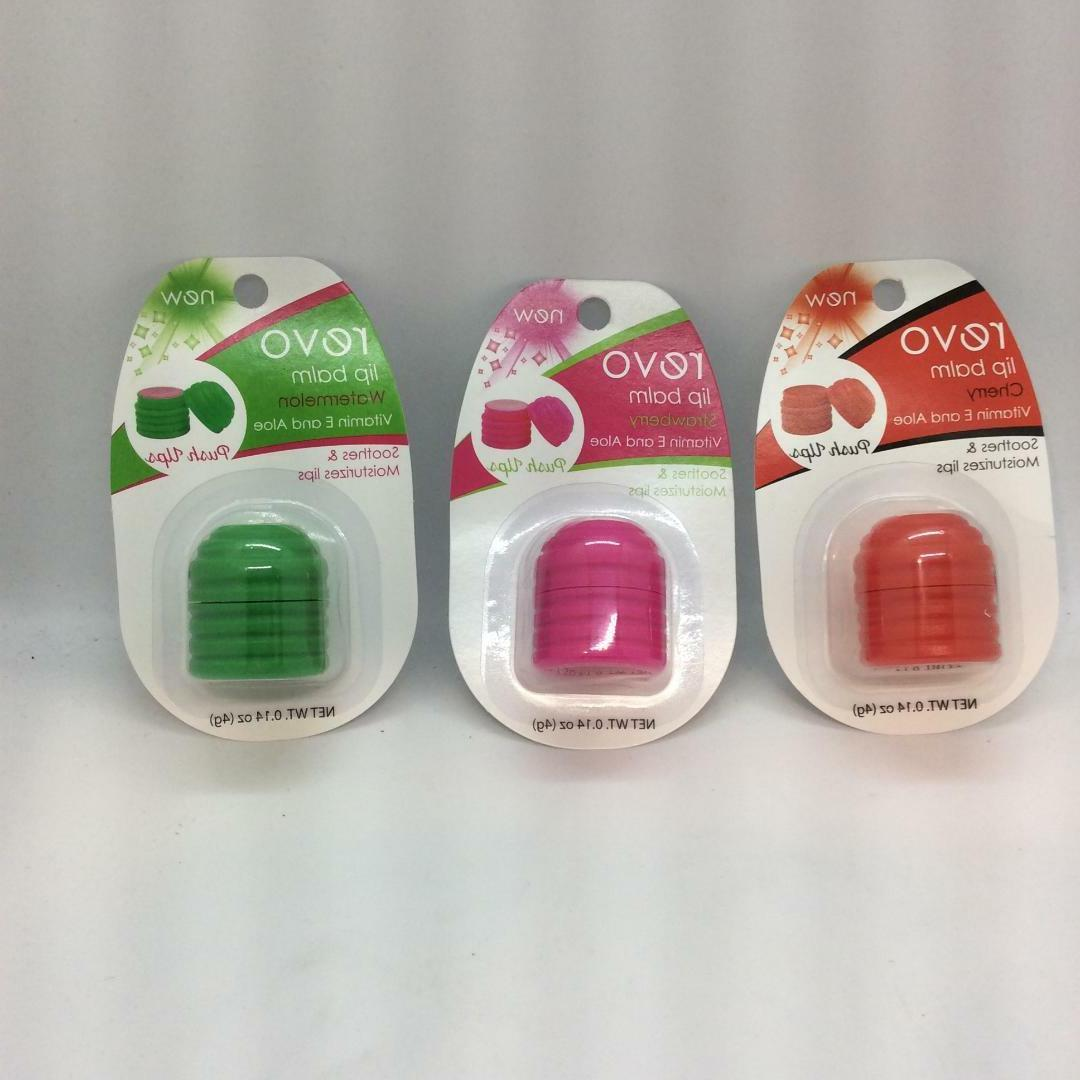 Revo push up sphere lip balm- 3 flavors-strawberry, cherry,