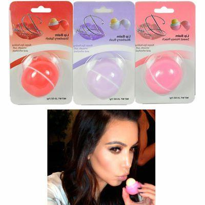 2 pc Round Ball Shape Lip Balm Flavored Chapstick Care Moist