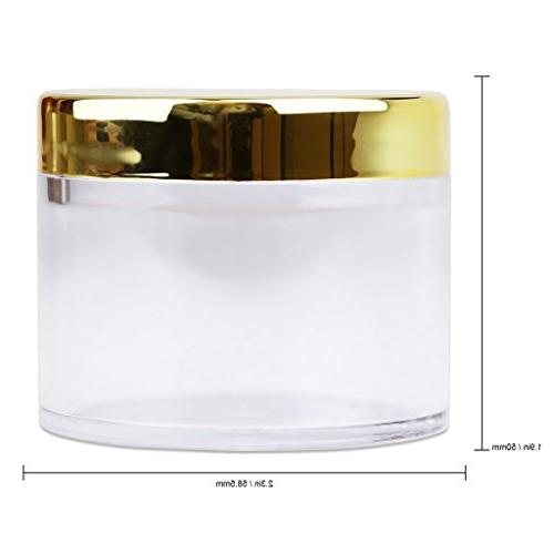 Beauticom 2 60 Grams/ Wall Clear LEAK-PROOF Container GOLD Lip Gloss, Creams,