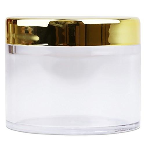 Beauticom 2 oz./ 60 Grams/ ML Wall Round Clear GOLD Lids Lip Lip Creams, Liquids