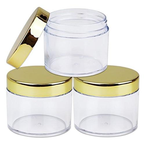 Beauticom oz./ Grams/ 60 ML Wall LEAK-PROOF Jars GOLD Lip Lip Creams, Lotions, Liquids