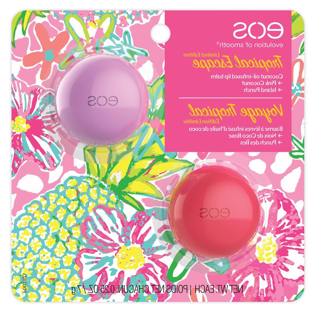 tropical escape lip balm 2 pack pink