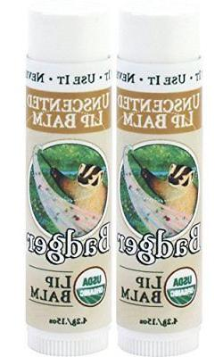Badger Unscented Classic Lip Balm - 0.15oz Stick 2 Pack