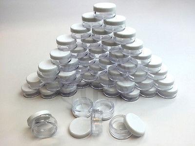 50Pcs White Cosmetic Jar Eyeshadow Makeup Balm