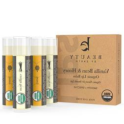 Lip Balm - Organic Pack of 4 Tubes Vanilla & Honey Moisturiz