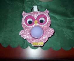 EOS lip balm w/ Glitter Pink vinyl owl holder and key ring