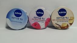 Nivea Lip Butter Tin  One of Your Choice Macadamia Raspberry