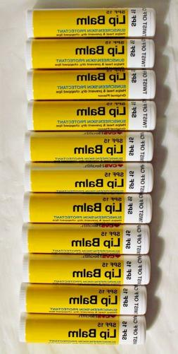 Lot of 12 NEW Lip Balm SPF 15 / Sunscreen Chapped Lips Heals
