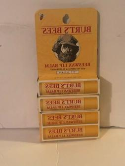Lot Of 4 Burt's Bees Lip Balm Beeswax 0.15 Oz 2 Count