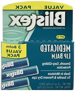 Blistex Medicated Lip Balm SPF 15, 3 Count