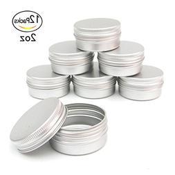 Healthcom 2oz 12 Pack Metal Steel Tin Flat Silver Metal Tins