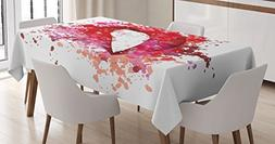 Modern Decor Tablecloth by Ambesonne, Sexy Woman Lips Smilin
