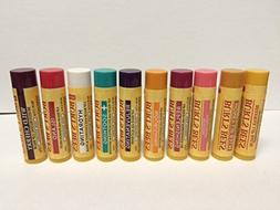 10 Pack Multi Flavor Burts Bees Assortment Lip Balms , Pink