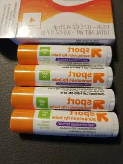 New - 4 Pack - Sport Sunscreen Lip Balm SPF 50 - up&up