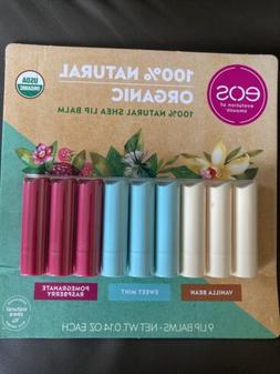 New Eos USDA Organic Smooth 100% Natural Shea Lip Balm 9 Sti