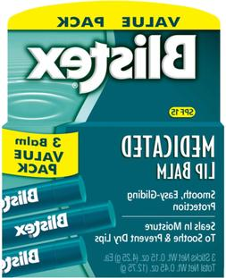 NEW Blistex Medicated Lip Balm SPF 15 0.15 Oz Pk of 3 Value