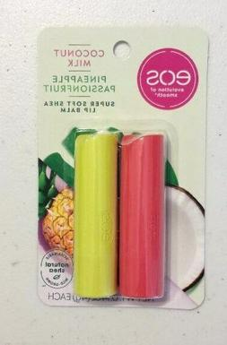 New X2 Eos Lip Balm Sticks Coconut Milk & Pineapple Passionf