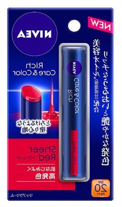 Nivea Rich care & color lip shear red Balm Japan import NEW