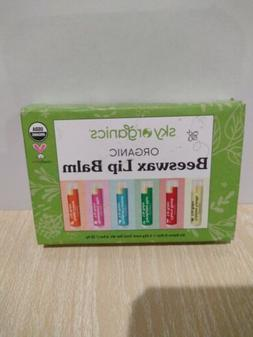 Sky Organics Organic Beeswax Lip Balm Assorted Flavour 6pc