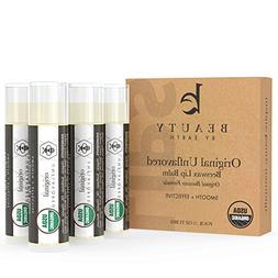 Lip Balm - Organic Pack of 4 Tubes Unflavored Original Moist