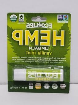 ECO LIPS Organic Hemp Vanilla Mint Lip Balm NON GMO USDA ORG