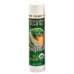 Badger Organic Lip Balm Stick Unscented -- 0.15 oz