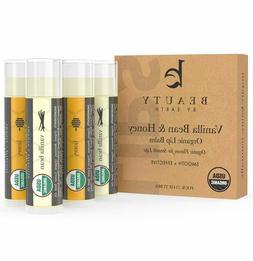 Beauty by Earth Organic Lip Balm Vanilla Bean & Honey 4 tube