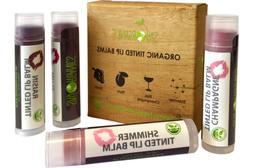 Organic Tinted Lip Balm by Sky Organics - 4 Pack Shimmer Col