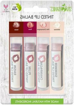 Organic Tinted Lip Balm by Sky Organics – 4 Pack Assorted