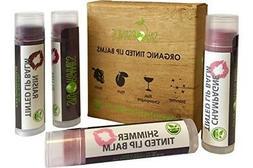 Organic Tinted Lip Balm by Sky Organics – 4 Pack Assor