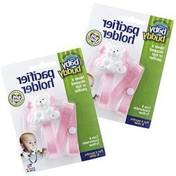 Baby Buddy Unisex 2 Piece Pacifier Holder Clip, Light Pink,