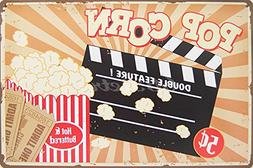 Pop Corn Hot and Buttered, Metal Tin Sign, Wall Decorative S