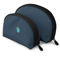 Portable Shell Makeup Bag Clutch Toiletry Pouch Earth Patter