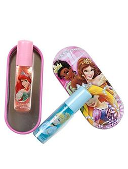 Disney Princess Lip Gloss with Tin, Tiana, Belle, and Aurora