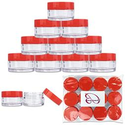 Beauticom 12 Pieces 20G/20ML Round Clear Jars with RED Lids