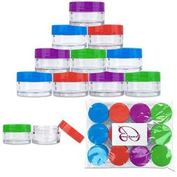 Beauticom 12 Pieces 20G/20ML Round Clear Jars with Mixed Col
