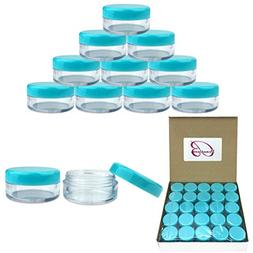 Beauticom 5G/5ML Round Clear Jars with TEAL Sky Blue Lids f