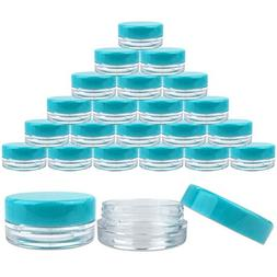 Beauticom 3G/3ML Round Clear Jars with TEAL Sky Blue Lids f